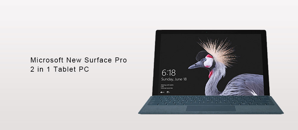 Microsoft New Surface Pro 2 in 1 Tablet PC 12.3 inch Windows 10 Intel Core i7 Quad Core 2.4GHz 16GB RAM 1TB SSD 8.0MP + 5.0MP Double Cameras- Platinum