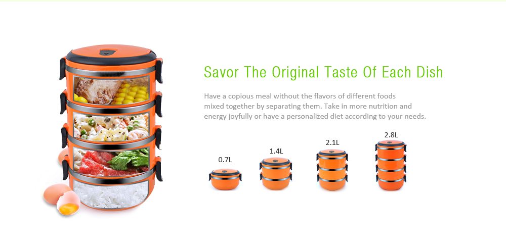 Stainless Steel Food Container Round Shape Portable Lunch Box- Orange