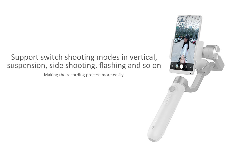 Xiaomi Mijia SJYT01FM 3 Axis Handheld Gimbal Stabilizer with 5000mAh Battery for Action Camera and Phone- White