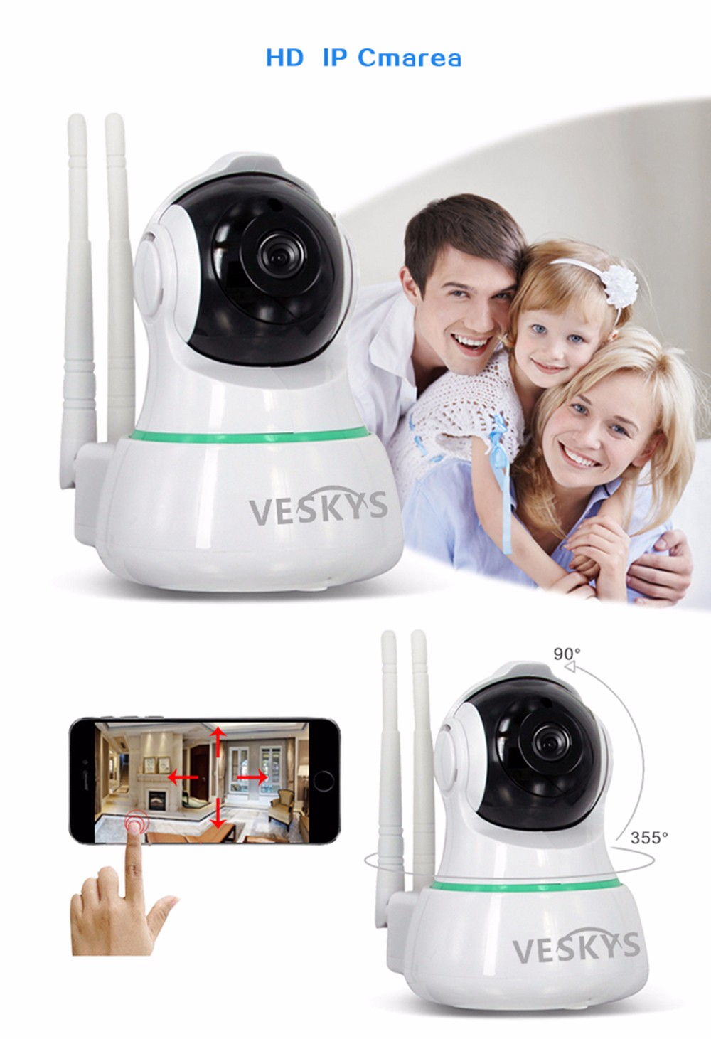 VESKYS N5 1080P WiFi IP Camera 2.0MP for Home Security