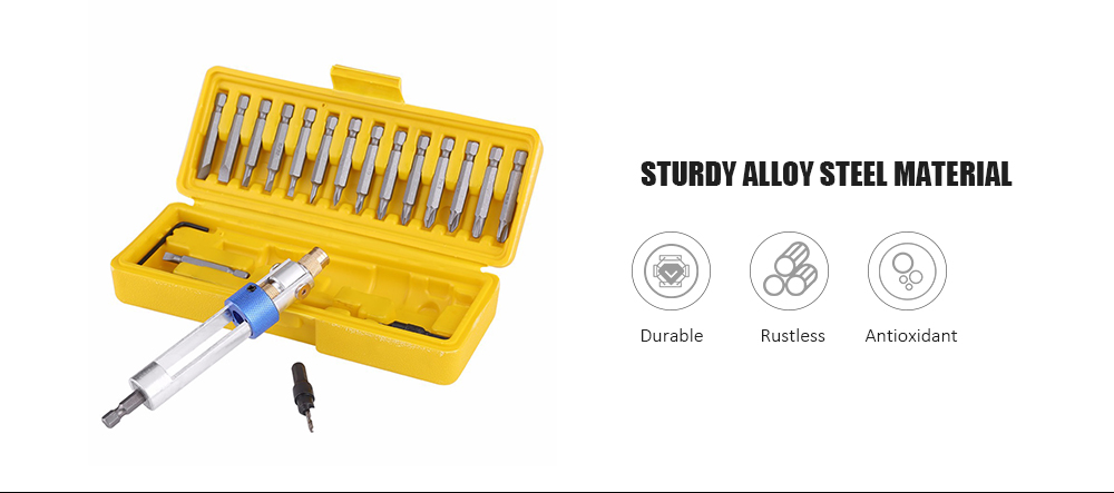 20 in 1 High-speed Steel Multifunctional Drill Driver Set- Yellow