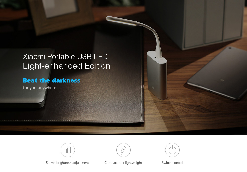 Original Xiaomi 5V 1.2W LED Light Portable USB Lamp 5-level Brightness Adjustment Switch Control Energy Saving Mobile Power Bank Accessory ( Enhanced Edition )- White