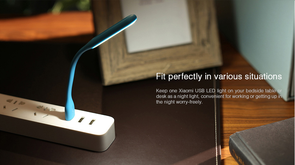 Original Xiaomi 5V 1.2W LED Light Portable USB Lamp 5-Level Brightness Adjustment Switch Control Energy Saving Mobile Power Bank Accessory ( Enhanced Edition )- Blue