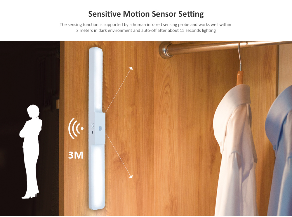 Motion Sensor LED Wardrobe Light Rechargeable Sensitive Two Modes - White