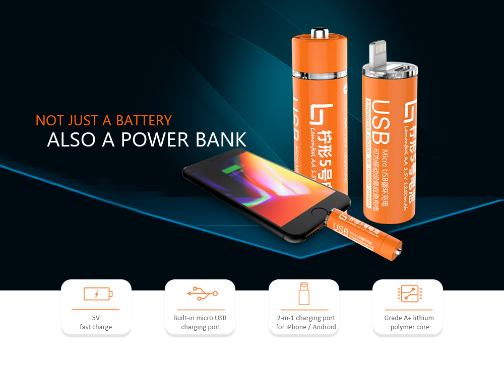 Hot Sale!!! Battery AA USB 1.5V Portable Mini Mobile Power
