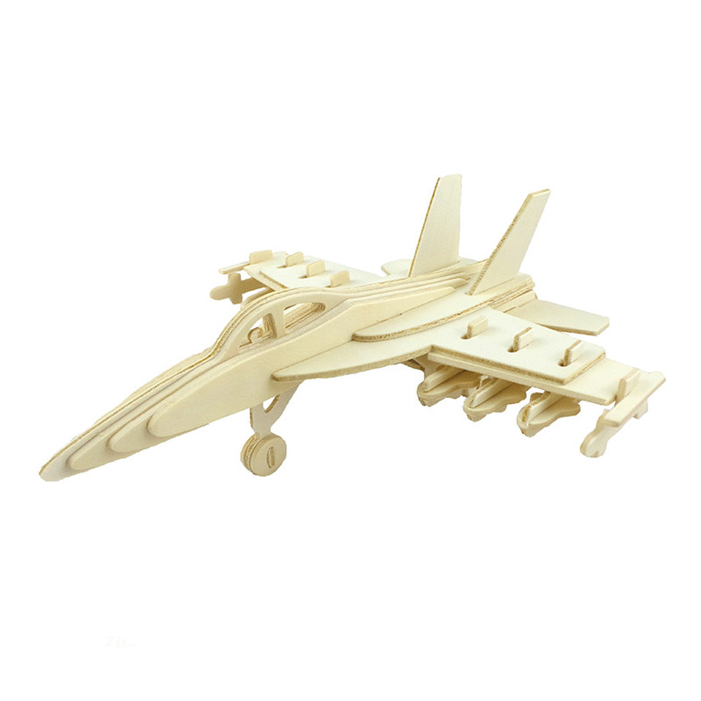 DIY 3D Wooden Puzzle Cool Fighter Plane for Kids Gift