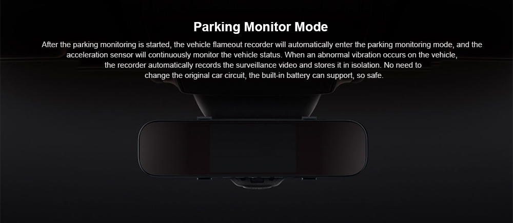 Xiaomi Mijia 5 inch Touchscreen Smart Rearview Mirror Car DVR with Voice Control- Black