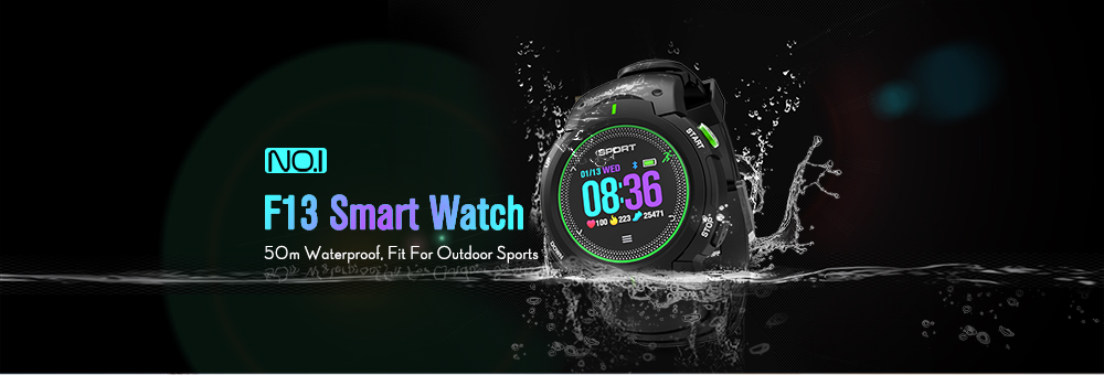 NO.1 F13 Smart Watch Real-time Heart Rate Monitor Remote Camera Sports Outdoor Wristband- Gray