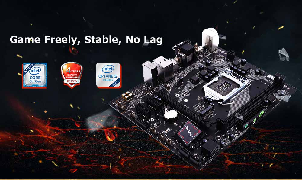 Colorful Battle Axe C.B360M - HD DELUXE V20 Motherboard Support PCI-E x 4 Channel M.2 SSD 4 x SATA3.0 Port- Black