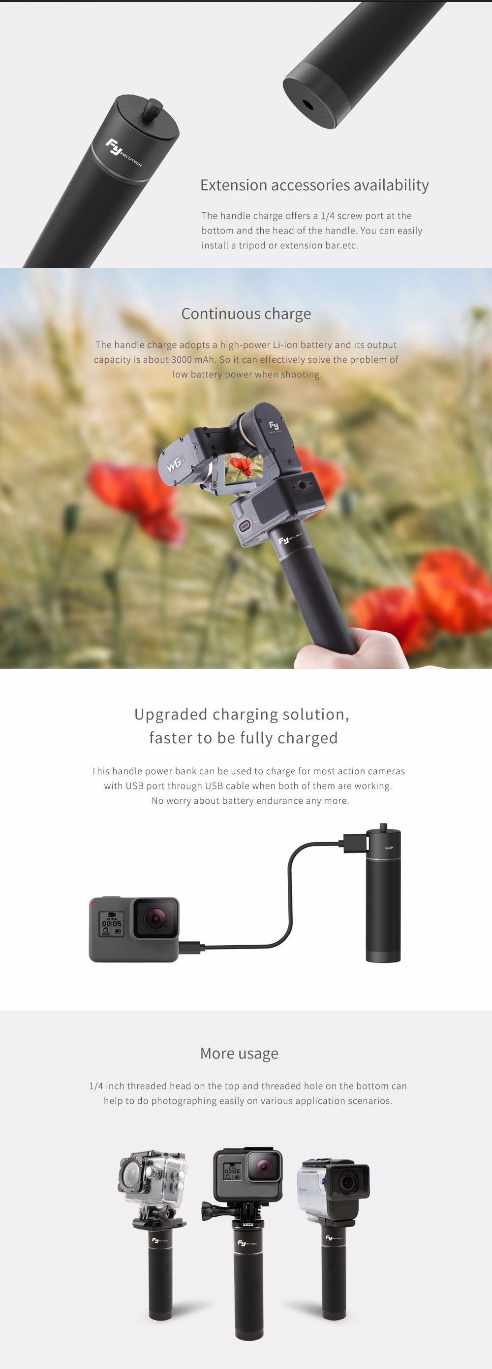 FY FEIYUTECH Handle Power Bank Handheld Stabilizer Extension Pole
