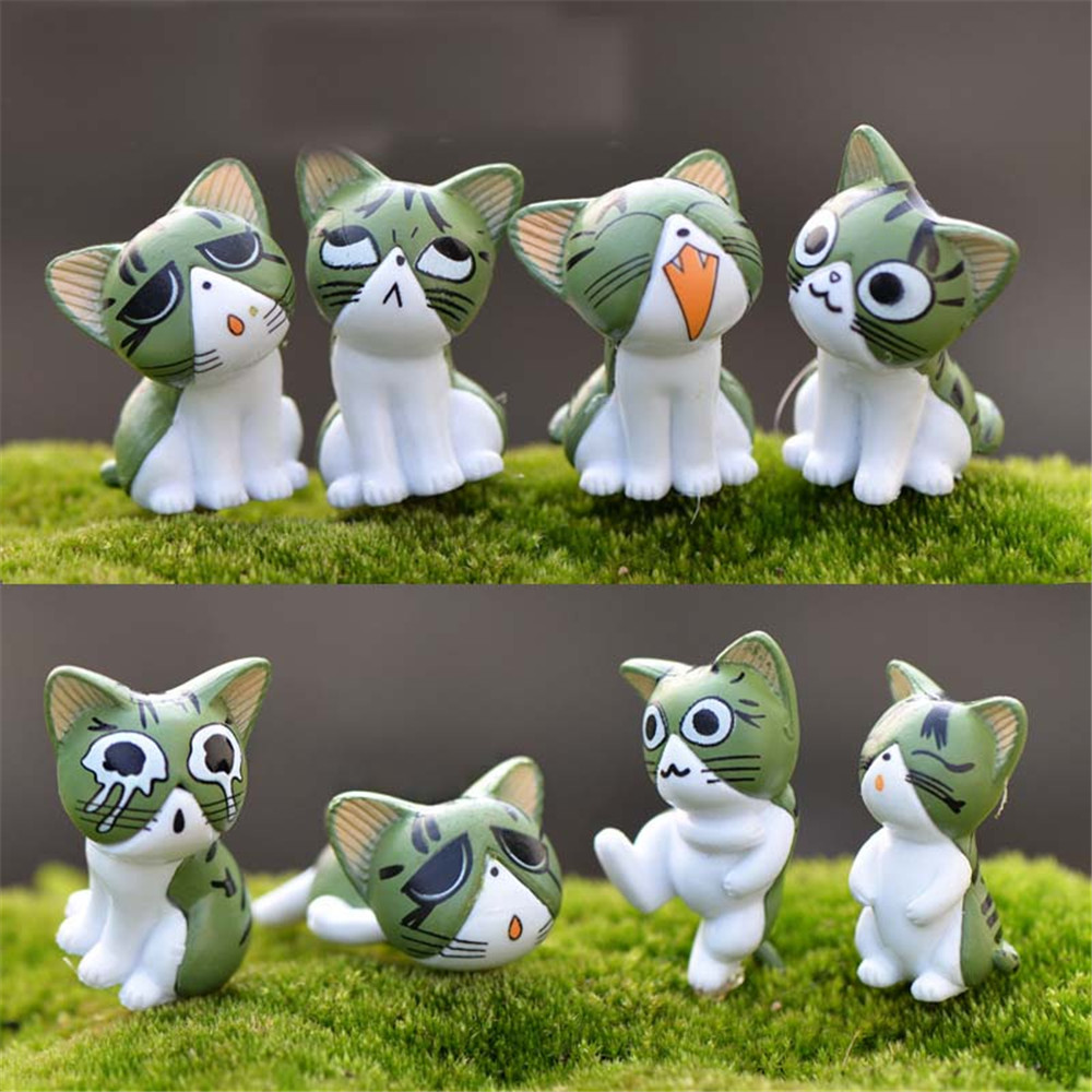 9pcs 3CM Cheese Cat Ornaments Many Expressions Cute Micro Landscape- Green