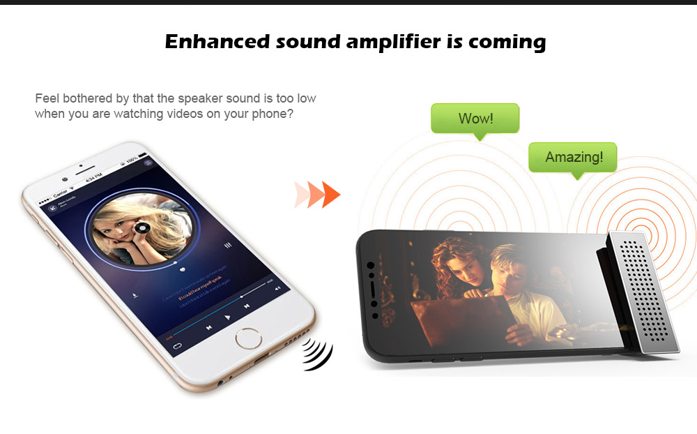 Creative Sound Amplifier Support Smartphone Phone Stent with 6 - 10mm Thickness- Black