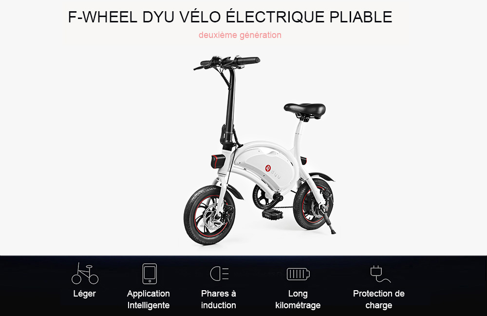F - wheel DYU D2 Bicyclette Electrique Pliable Batterie de 5, 2Ah Prise UE- Black