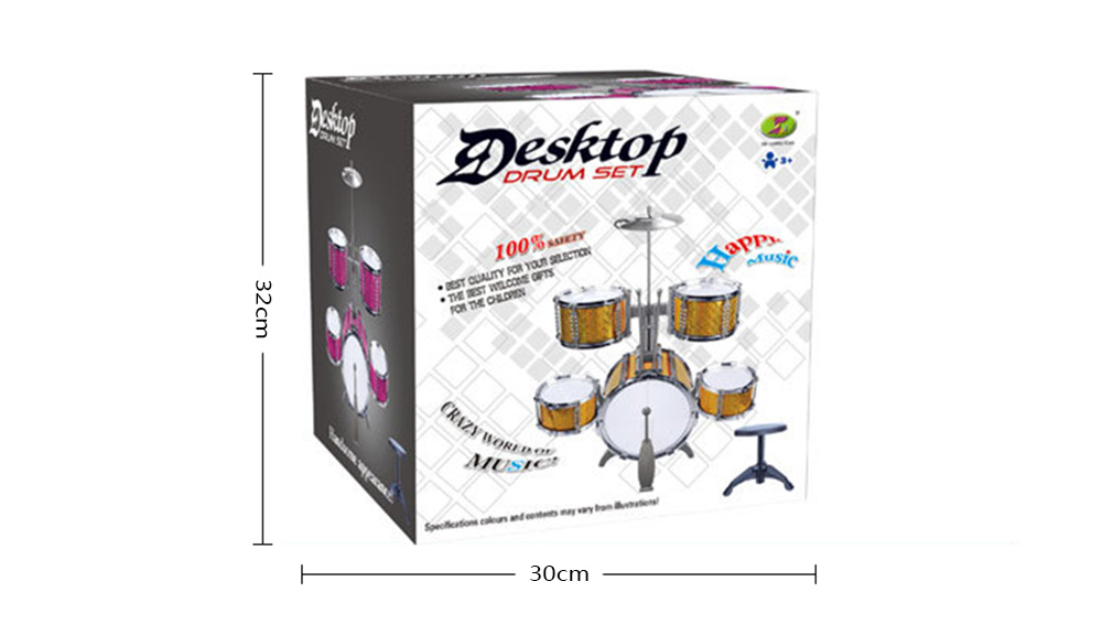 Large Drum Set with Chair Percussion Music Instrument Kids Toy Gift- Saffron