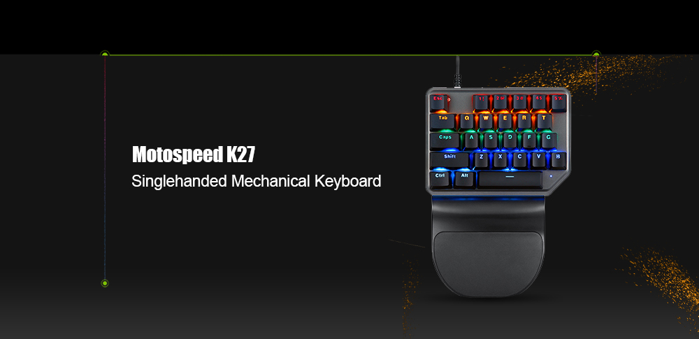 Motospeed K27 USB Wired Singlehanded Mechanical Keyboard with Blue Switch Backlight - Black