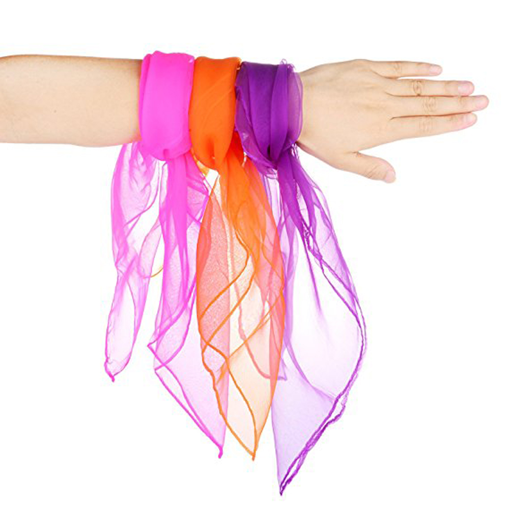 Juggling Silk Dance Scarves Magic Tricks Performance Props Accessories 12pcs- Multi