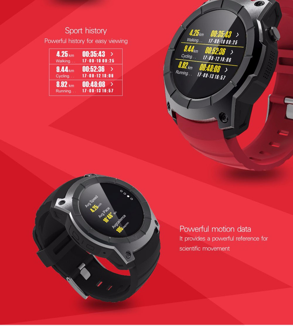 S958 GPS Smartwatch Phone 1.3 inch Heart Rate Monitor Pedometer Bluetooth 4.0- Red