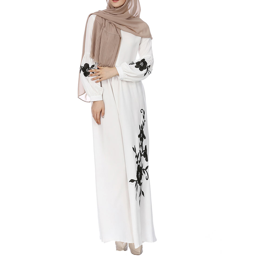 Embroidered Dress Round Neck Long Sleeves Dress