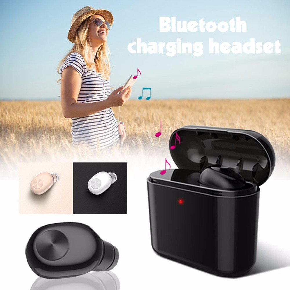 CIRCE BL1 Mini Bluetooth Earphone Wireless Earbuds with Charging Dock and Mic 1pc- Black