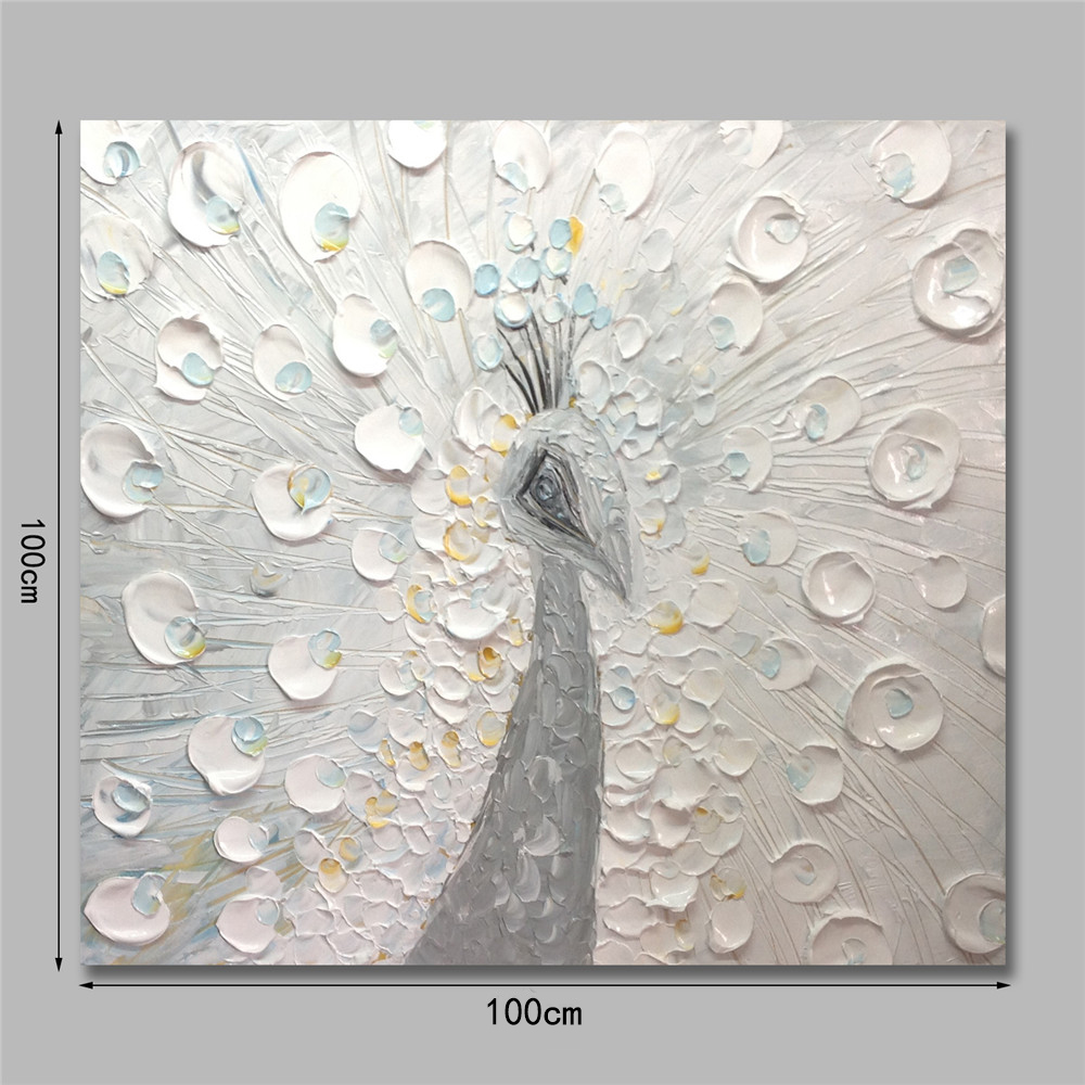 STYLEDECOR Modern Hand Painted Abstract The White Peacock Oil Painting on Canvas- White 24 x 28 inch (60cm x 70cm)