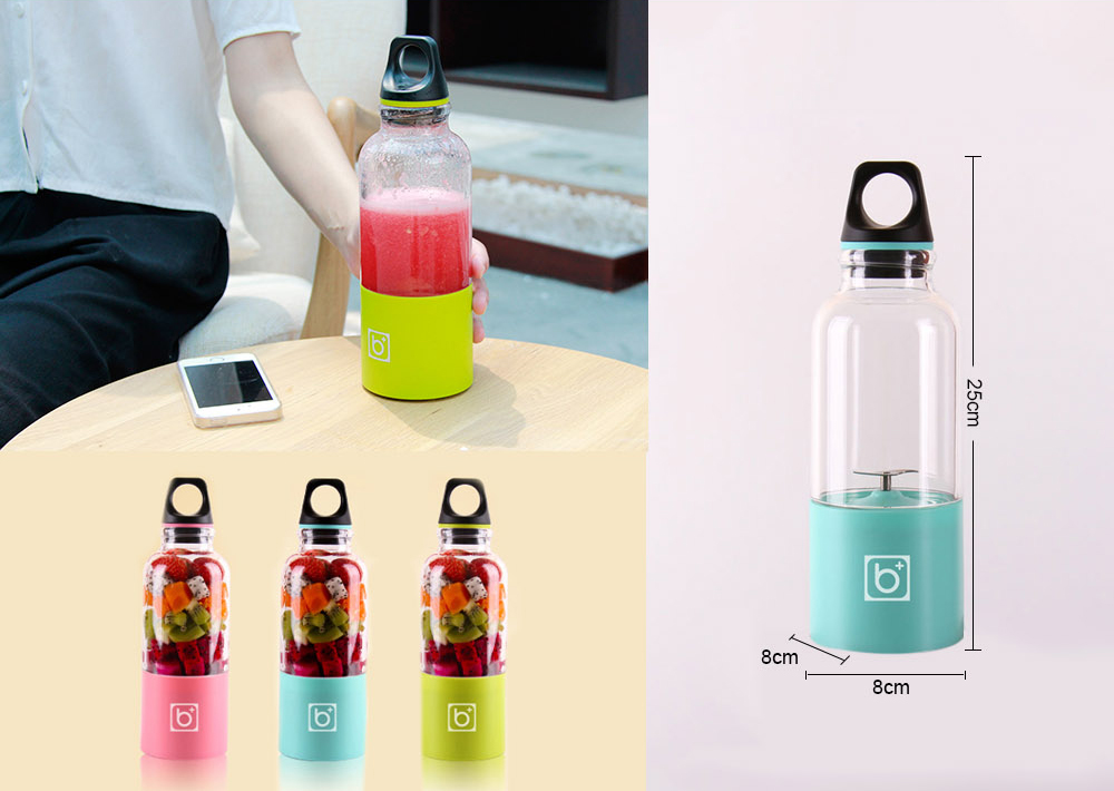 500ml Mini USB Charging Portable Fruit Juicer Bottle- Blue Lagoon