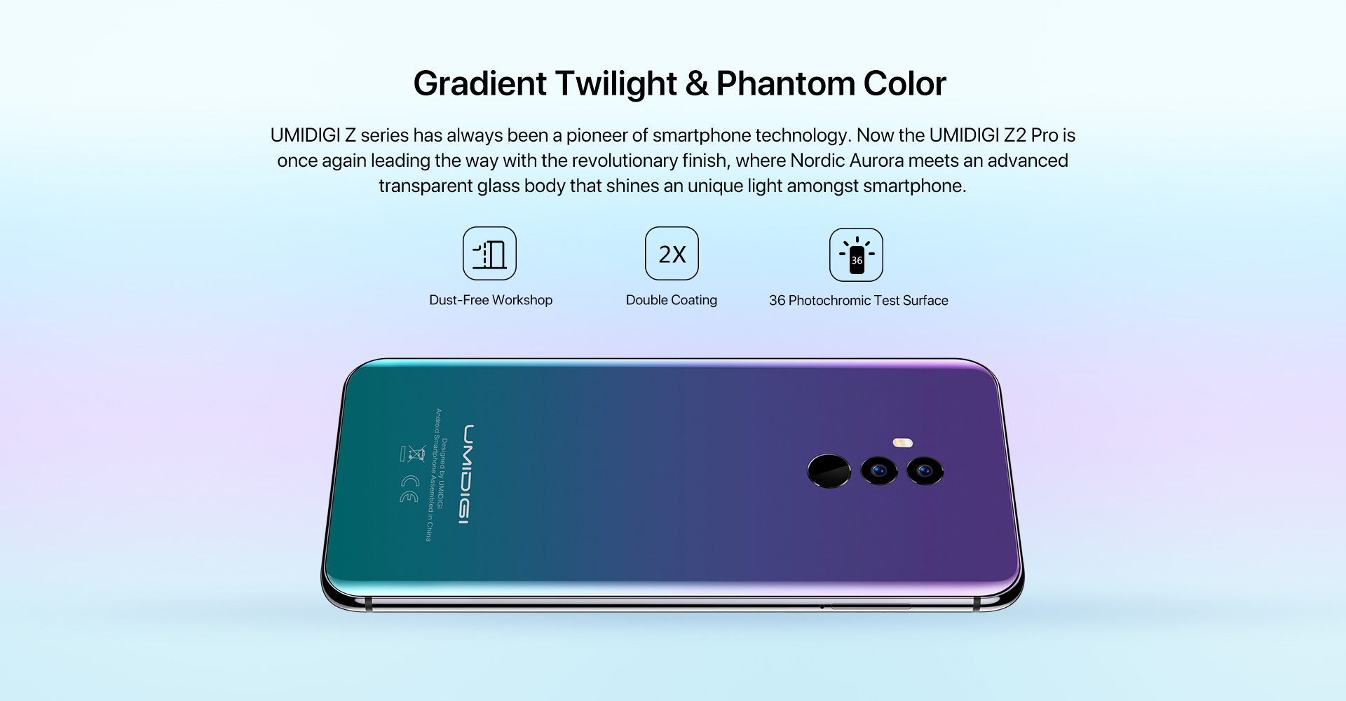 UMIDIGI Z2 PRO 4G Phablet 6.2 inch Android 8.1 Helio P60 Octa Core 2.0GHz 6GB RAM 128GB ROM 3550mAh Battery Quad Cameras Fingerprint Recognition Type-C- Twilight