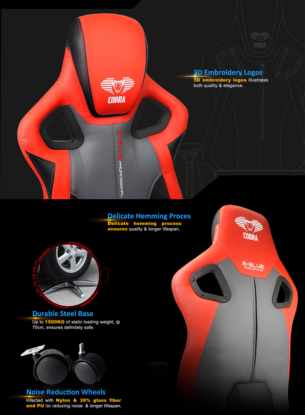 E - 3LUE EEC306 Gaming Chair PU Leather PC Racing Seat