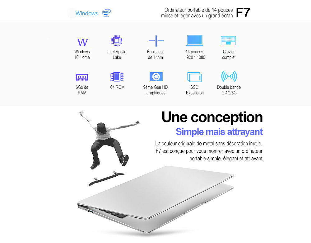 Teclast F7 Notebook - Argent 6 Go RAM + 128 Go SSD