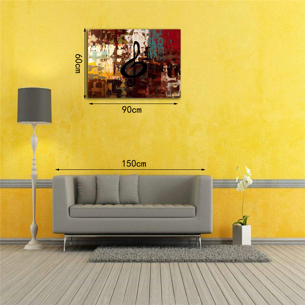 STYLEDECOR Modern Hand Painted Abstract Colored Note on Canvas Oil Painting- Multi 35 x 48 inch (90cm x 120cm)