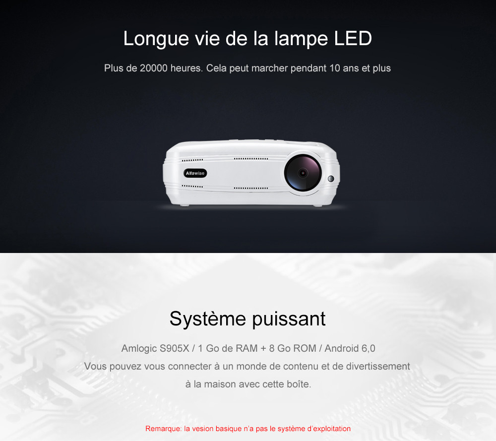 Alfawise X Projecteur Intelligent 3200 Lumens HD 1080P Prend en Charge 4K- Blanc Version de base ( Prise EU )