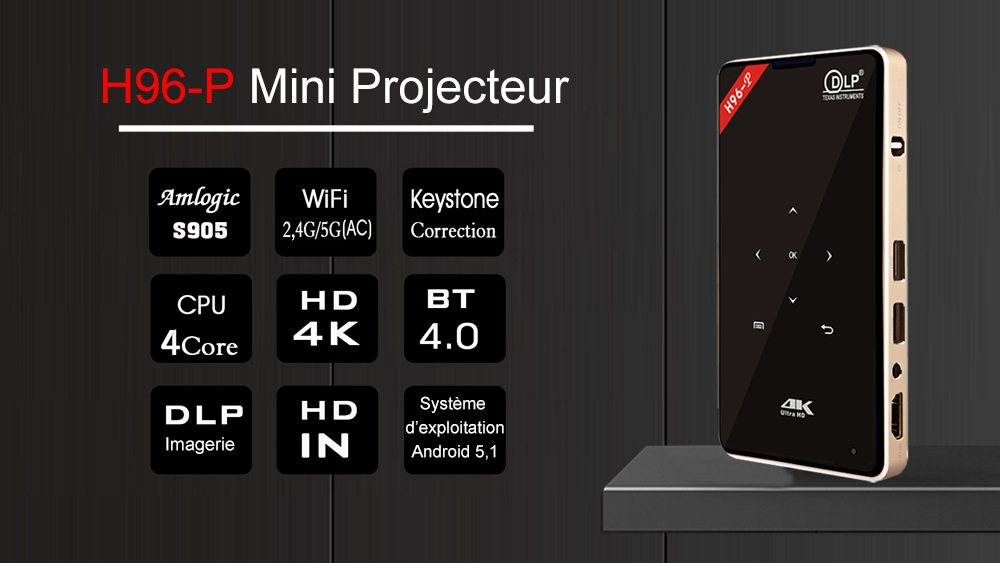 Quad Core + Bluetooth 4, 0 + 2, 4GHz / 5, 8GHz + Double Bande WiFi + Prend en Charge 4K- Black and Golden US Plug + 2GB RAM + 16GB ROM