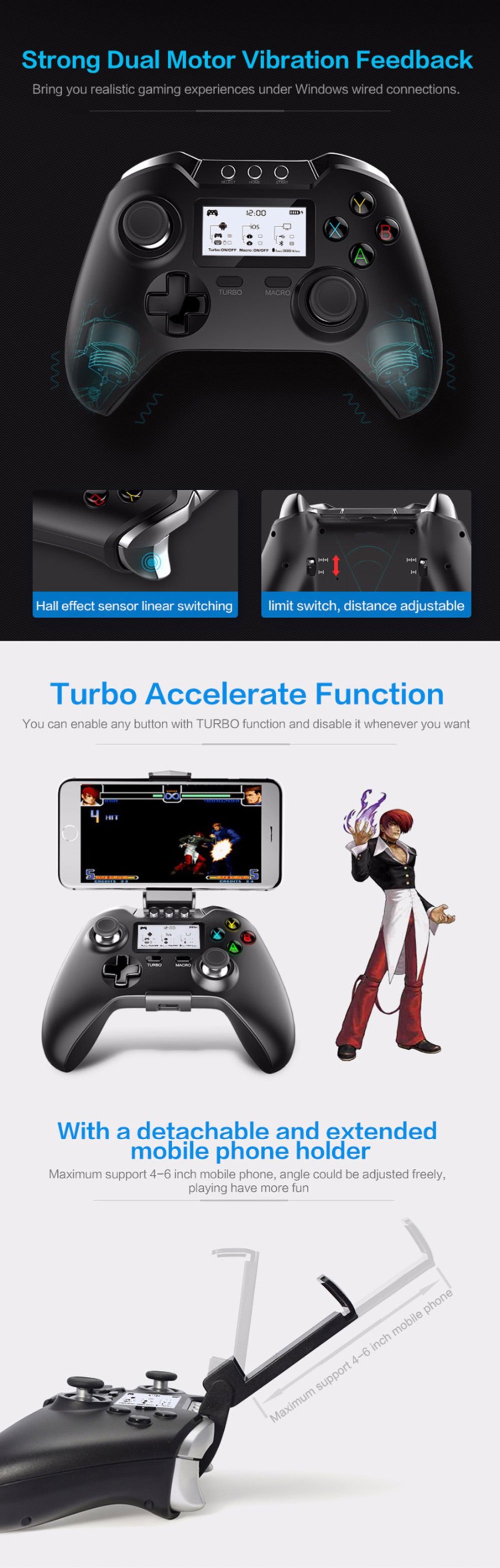 Ipega Pg 9063 Bluetooth Gamepad Smart Game Controller 2960 Mobile Wireless Gaming 30 For Android And Ios 9021 Black With Lcd Display Dual Motor Vibration