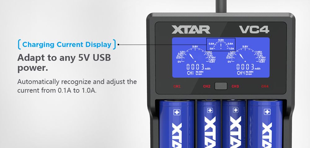 Xtar VC4 18650 4-slot Lithium-ion Ni-MH Battery Charger for Flashlight- Black