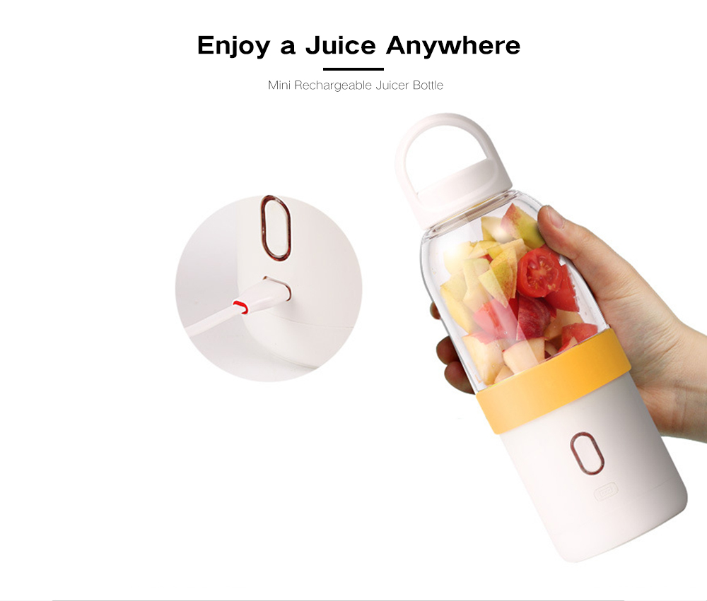 550ml 4400mAh Battery USB Charging 6 Blades Fruit Vegetable Juicer Bottle- Chartreuse