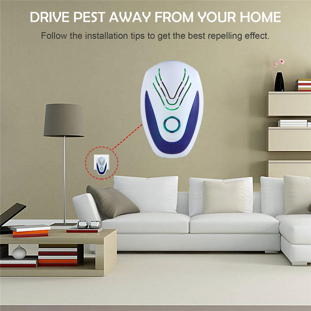 Ultrasonic Pest Repellent Electronic Repeller Anti Mice Roaches Circuit Bugs Spider White
