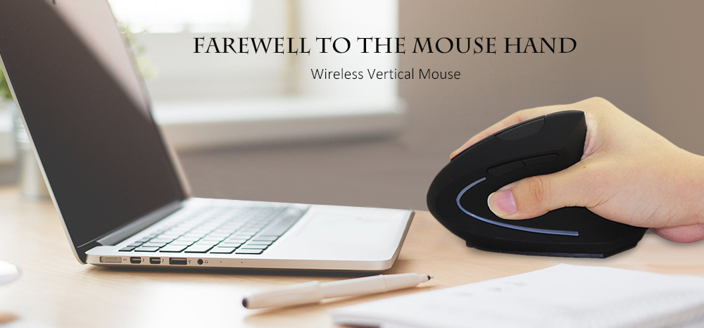 Wireless Vertical Mouse Ergonomic 2.4G - Black