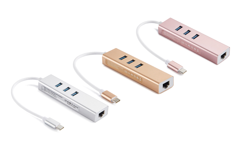 Type-C 3.1 to RJ45 Ethernet Converter with 3 USB Ports- Champagne Gold
