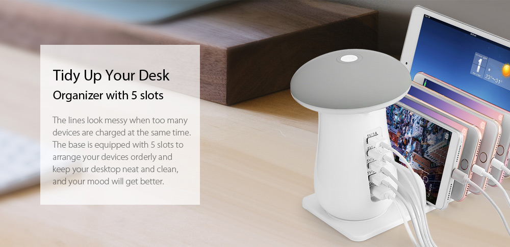 Utorch Q5 5 Port USB Charging Holder with Stand and Mushroom LED Lamp- White Key Function + Cool White + EU Plug