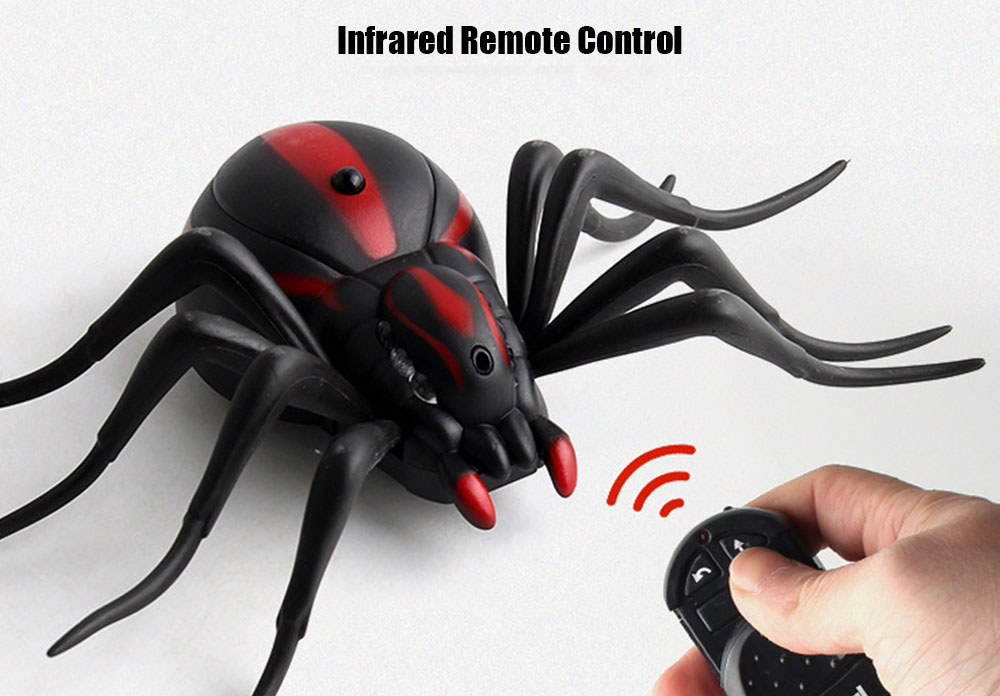 Simulation RC Spider Tricky Toy IR Remote Control- Black