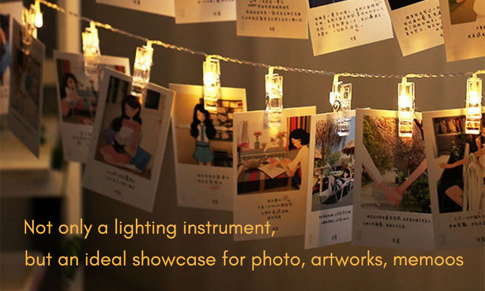 20 LED Photos Clips Fairy String Lights 3 Modes for Party Wedding Bedroom Decor- Warm White