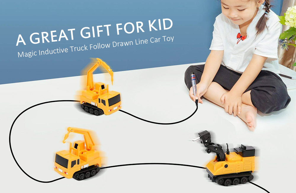 Magic Inductive Truck Follow Drawn Line Car Toy for Kids Children- Yellow
