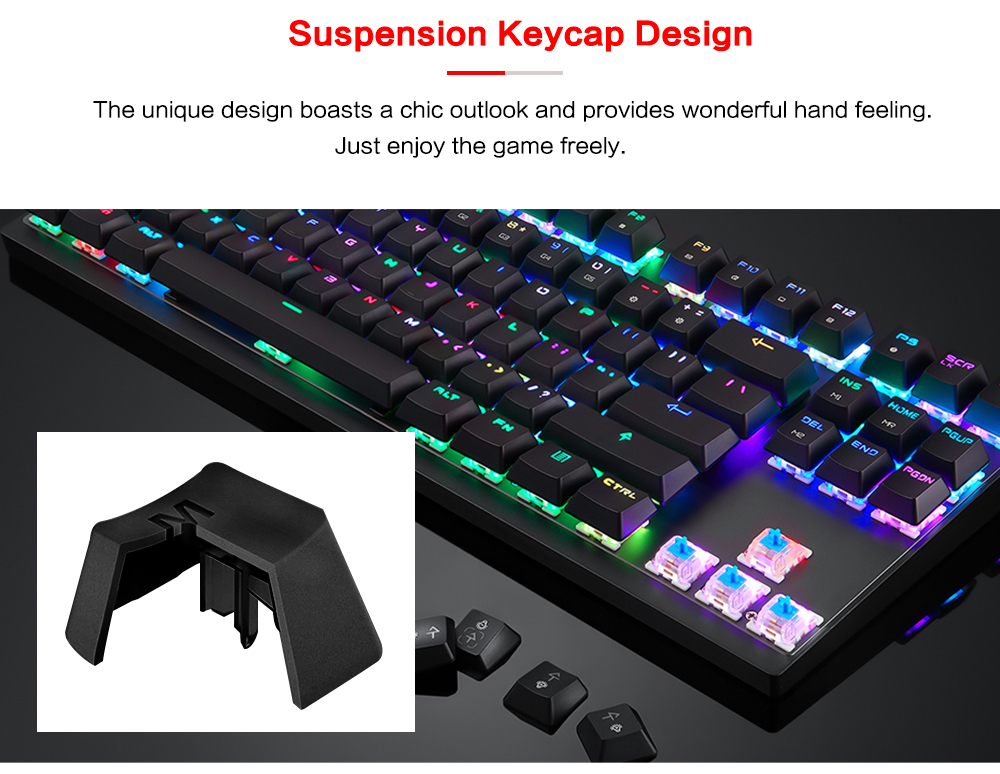 Motospeed K82 USB Wired Mechanical Keyboard with RGB Backlight All-key Anti-ghost- Black Red Switch
