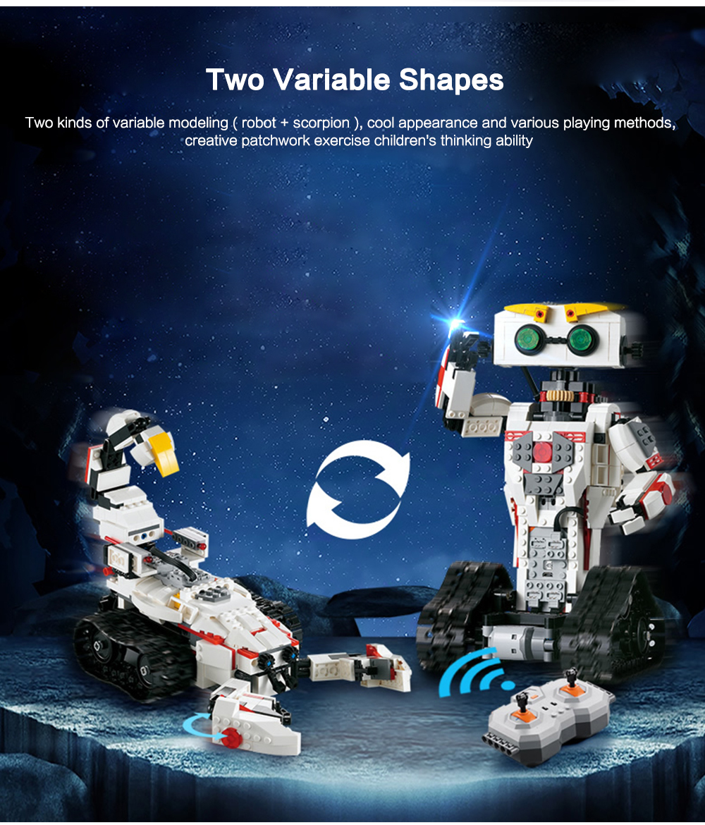 Cada C51028w Variable Electric Rc Intelligent Robot 4899 Free 4ch Remote Control Circuit Board Pcb Transmitter Receives Antenna Toys Building Block Toy Milk White