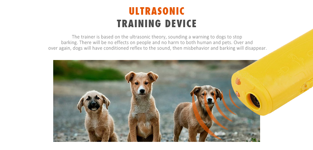 3-in-1 Ultrasonic Anti-barking Dog Trainer LED Pets Training Device- Rubber Ducky Yellow