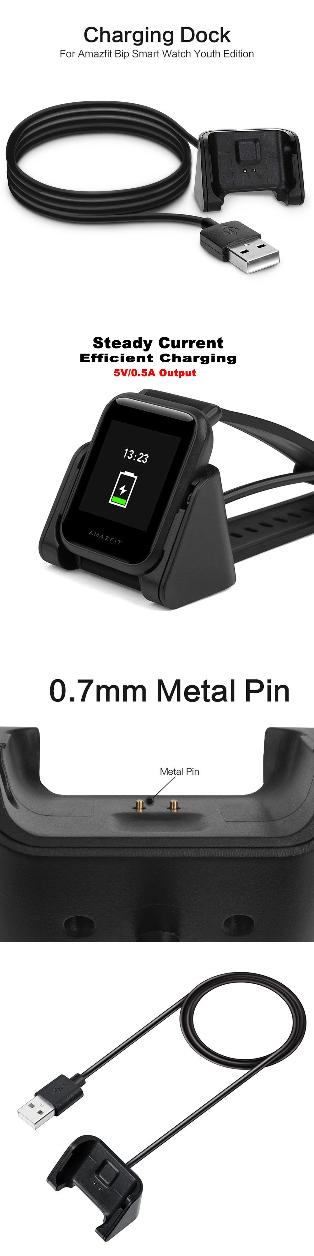 JOFLO USB Fast Charger Charging Dock for Huami Amazfit Bip Smart Watch- Black