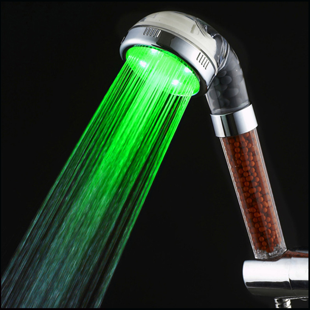 LED Handheld Shower Heads With Temperature Display Screen Water Powered Light