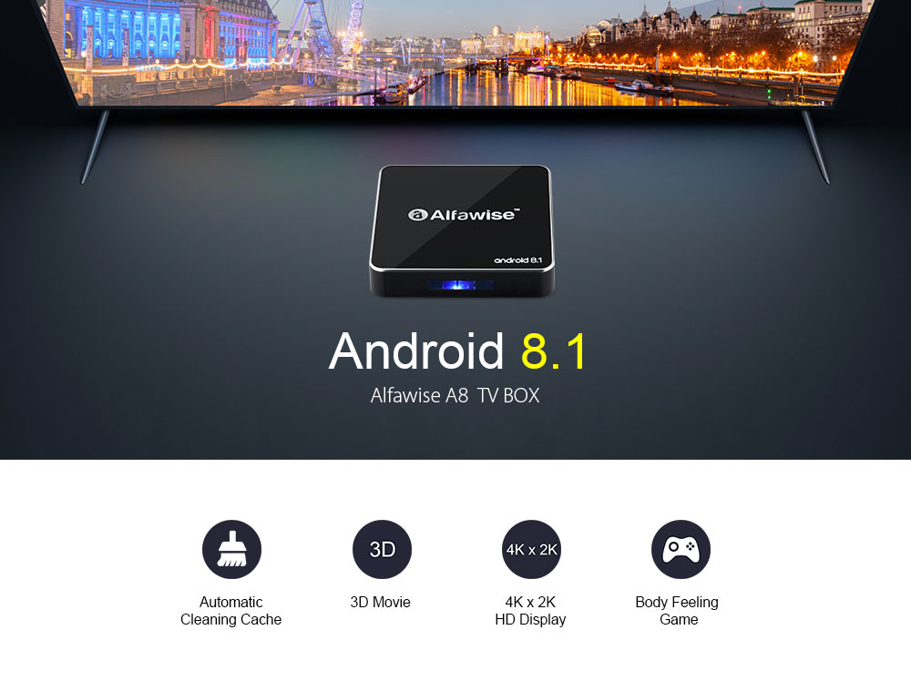 Alfawise A8 TV BOX Rockchip 3229 Android 8.1 2GB RAM + 16GB ROM 2.4G WiFi 100Mbps Support 4K H.265- Black EU Plug