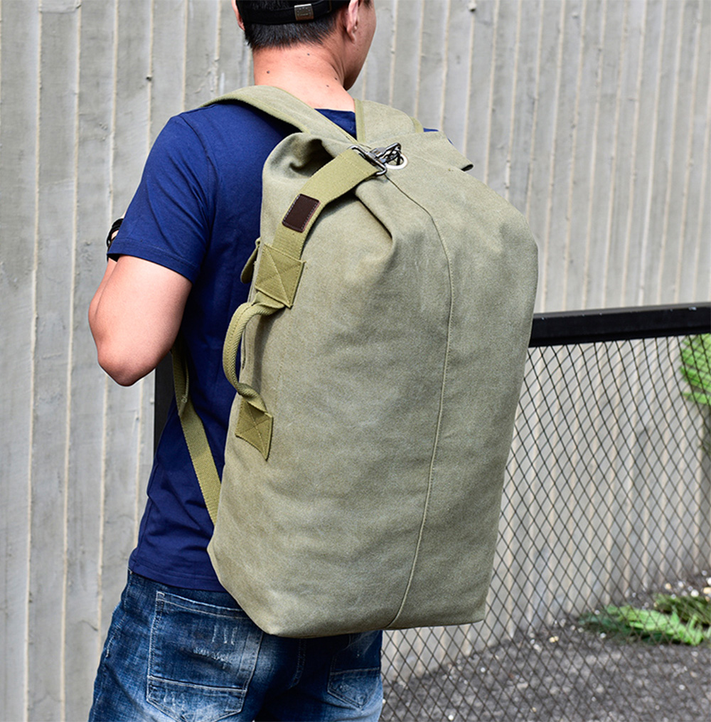 Outdoor Large Capacity Multifunctional Canvas Backpack- Army Green