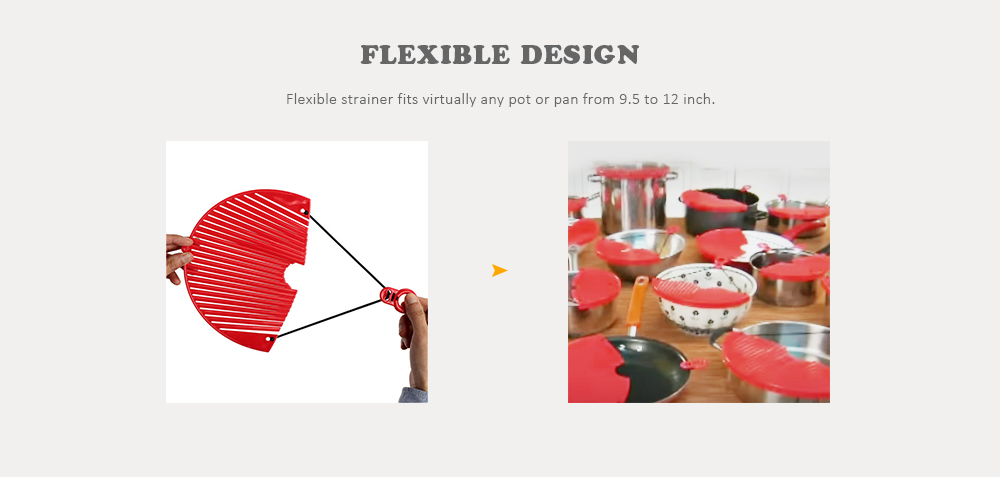 Expandable Strainer Adjustable Draining Tool for Hot Pot / Bowl / Pan- Valentine Red