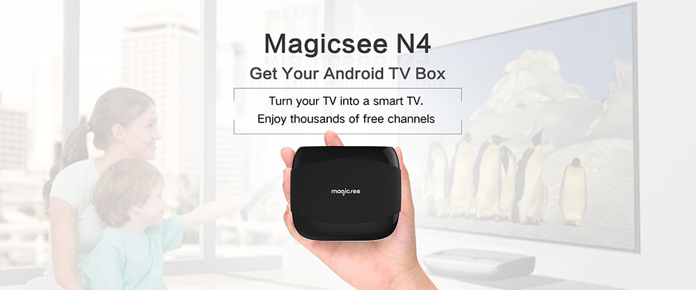 MAGICSEE N4 TV Box Amlogic S905X Android 7.1 2GB RAM + 16GB ROM 2.4G WiFi 100Mbps Support 4K H.265- Black 2GB + 16GB ( UK )